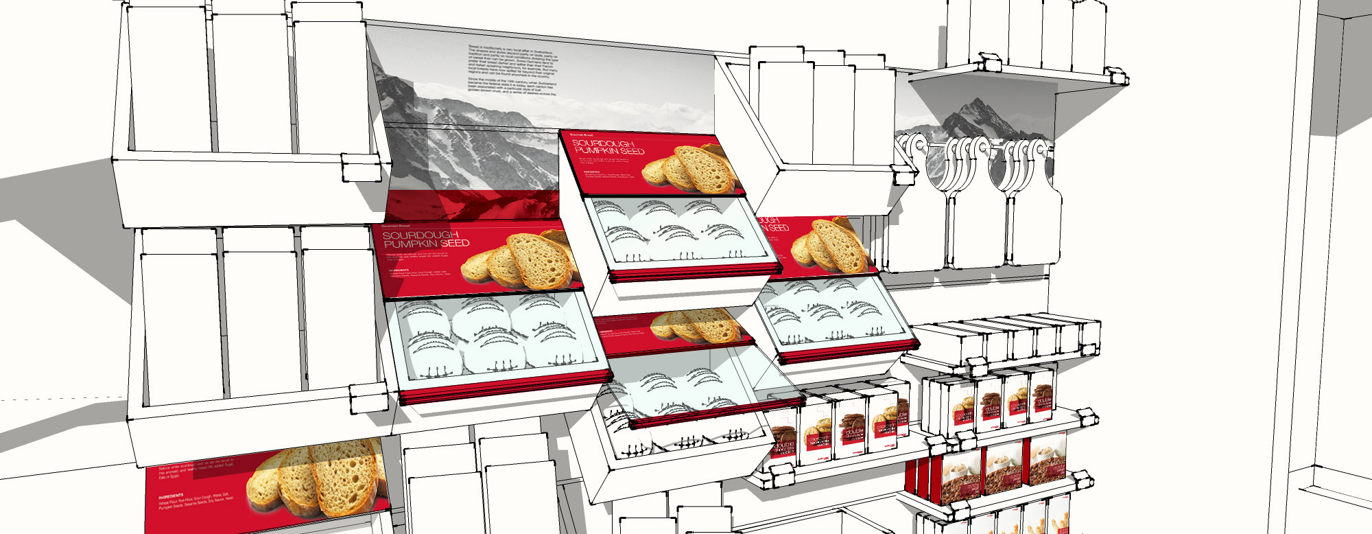 Visual merchandising: Along with the modular shelves and containers produced, Spinnaker's graphic design team developed a suite of product and brand aligned communications to convey Swissbake's brand values and aesthetics.