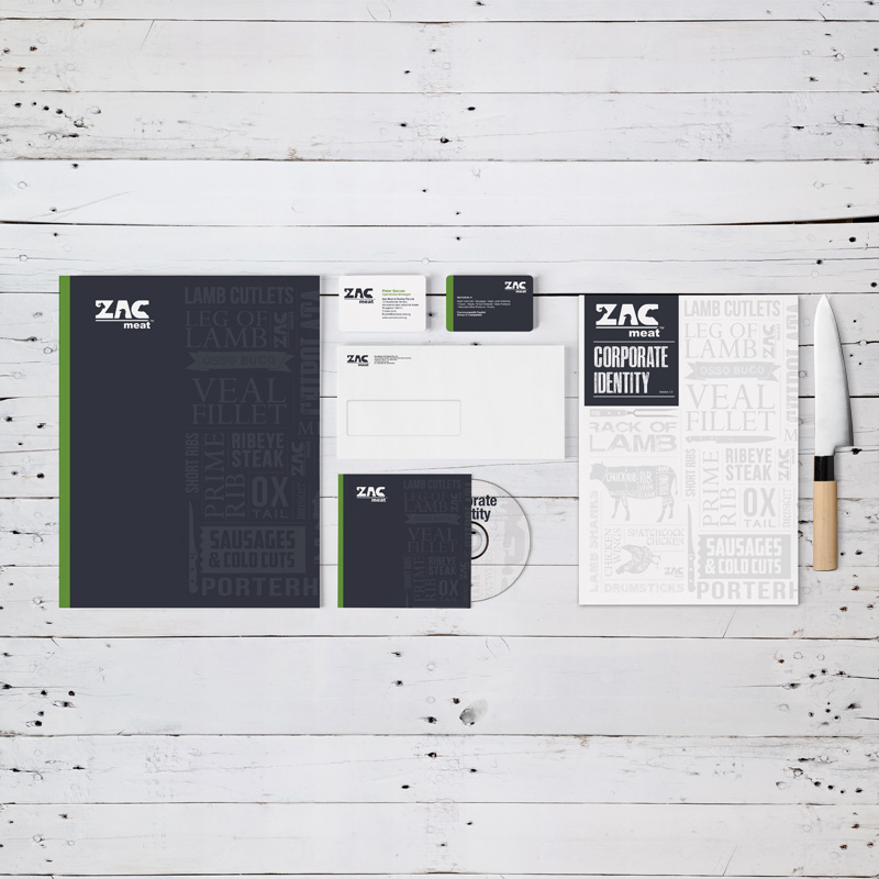 Corporate stationery for ZAC Meat. Part of Spinnaker360's branding services.