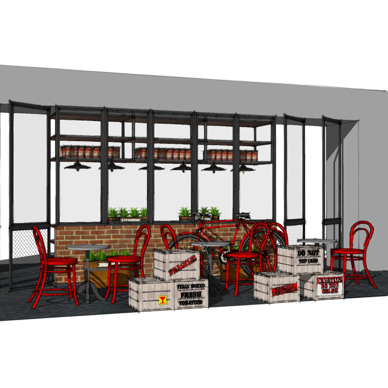 Interior design drawing of Piccolo franchise concept restaurant by Spinnaker360.