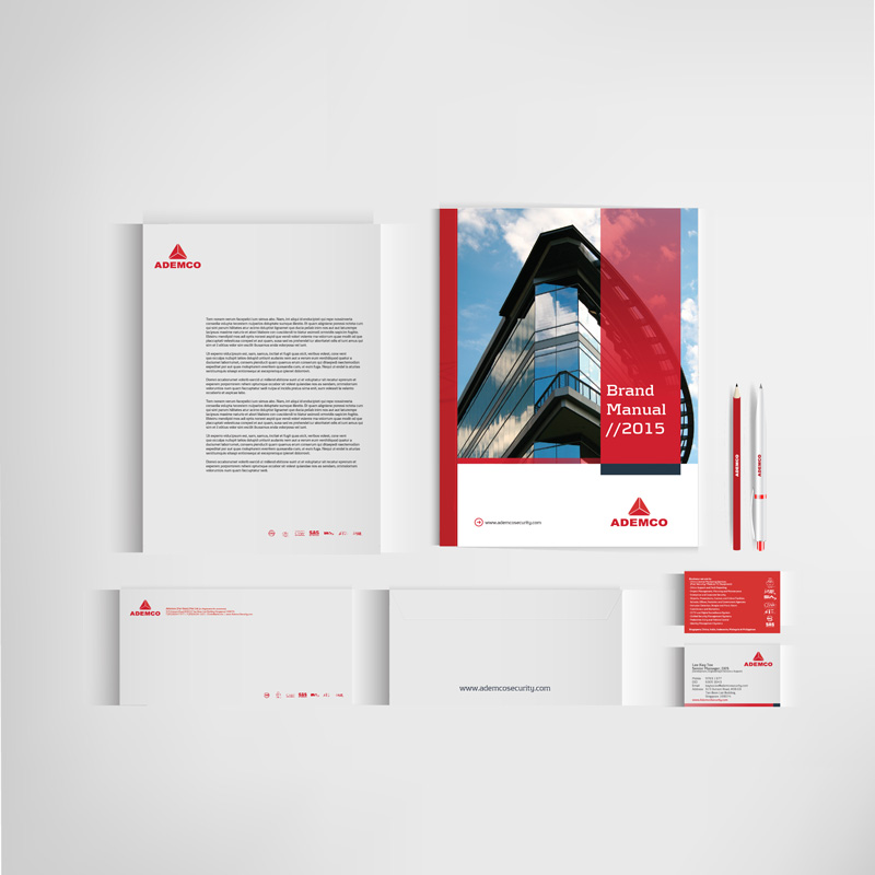 Corporate stationery, part of branding and marketing for Ademco completed by Spinnaker360.