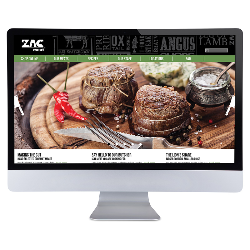 Website layout for ZAC Meat. Part of Spinnaker360's comprehensive branding process.
